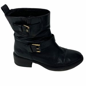 Tory Burch Bennie Leather Short Ankle Moto Boots
